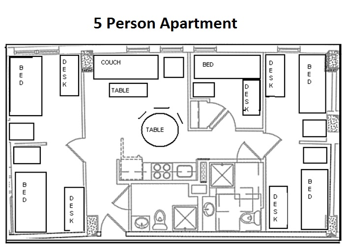 Marymount university lee ostapenko hall please click here to see a detailed room layout of a five person apartment malvernweather Choice Image